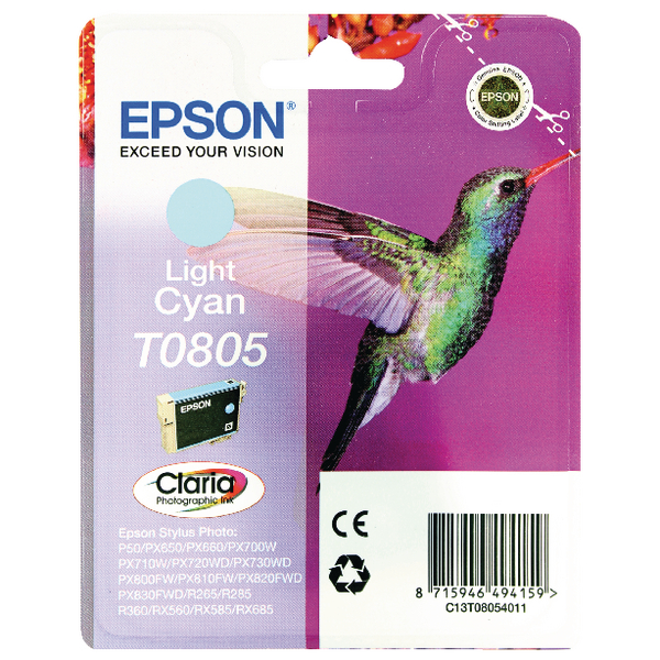 Epson T0805 Light Cyan Inkjet Cartridge C13T08054011 / T0805