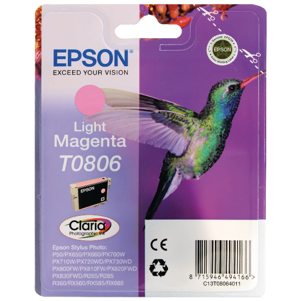 Epson T0806 Light Magenta Inkjet Cartridge C13T08064011 / T0806