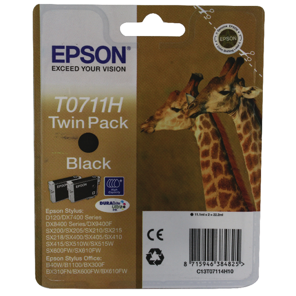 Epson T0711H High Yield Black Inkjet Cartridge (Pack of 2) C13T07114H10 / T0711H