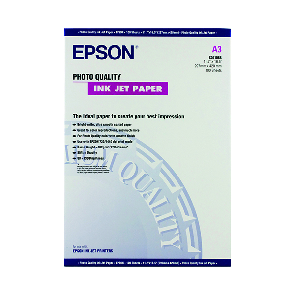 Epson White Photo Inkjet A3 Paper 104gsm (Pack of 100) C13S041068