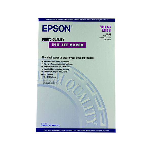 Epson White Photo Inkjet Paper A3+ (Pack of 100) C13S041069
