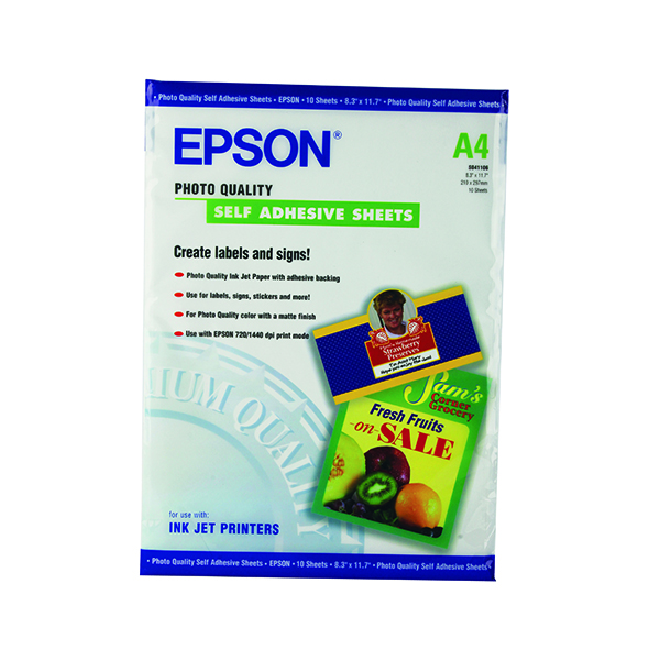 Epson White Photo Paper Self-Adhesive 167gsm (Pack of 10) C13S041106