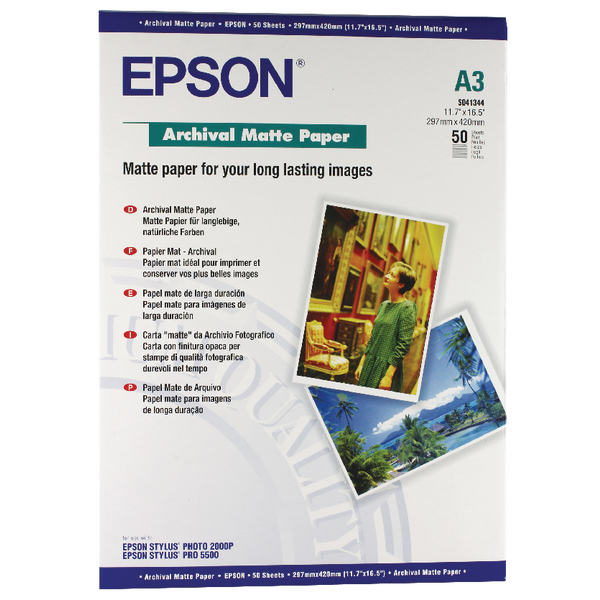 Epson Matte A3 Archival Paper 192gsm (Pack of 50) C13S041344