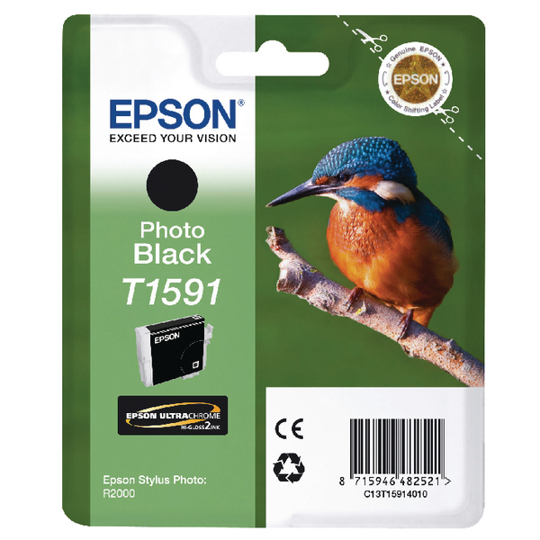 Epson T1591 Black Photo Inkjet Cartridge C13T15914010 / T1591