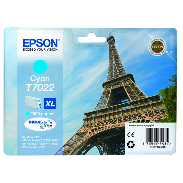 Epson T7022 High Yield Cyan Inkjet Cartridge C13T70224010 / T7022
