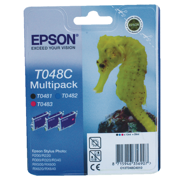 Epson T048C Cyan/Magenta/Black Inkjet Cartridge (Pack of 3) C13T048C4010