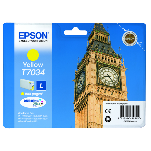 Epson T7034 Yellow Inkjet Cartridge C13T70344010 / T7034
