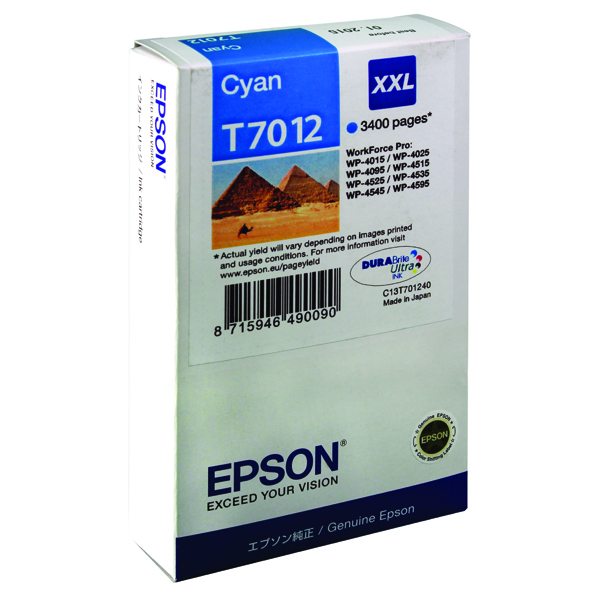 Epson T7012 Cyan Extra High Yield Inkjet Cartridge C13T70124010 / T7012