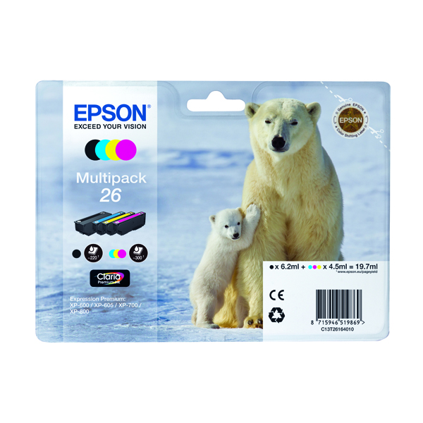 Epson 26 Black /Cyan/Magenta/Yellow Inkjet Cartridge (Pack of 4) C13T26164010/T2616