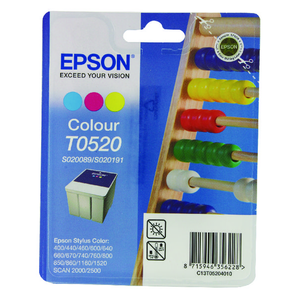 Epson T0520 Cyan/Magenta/Yellow Inkjet Cartridge C13T05204010 / T0520