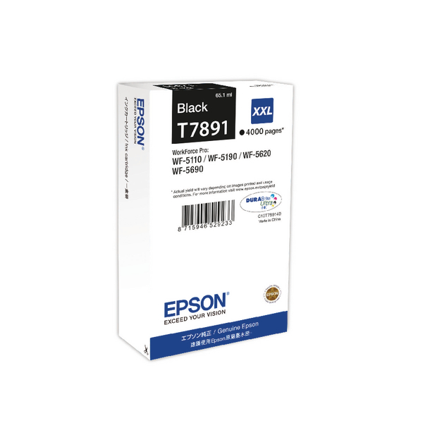 Epson T7891 Black Extra High Yield Inkjet Cartridge C13T789140 / T7891