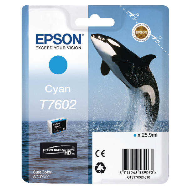 Epson T7602 Cyan Ink Cartridge C13T76024010 / T7602