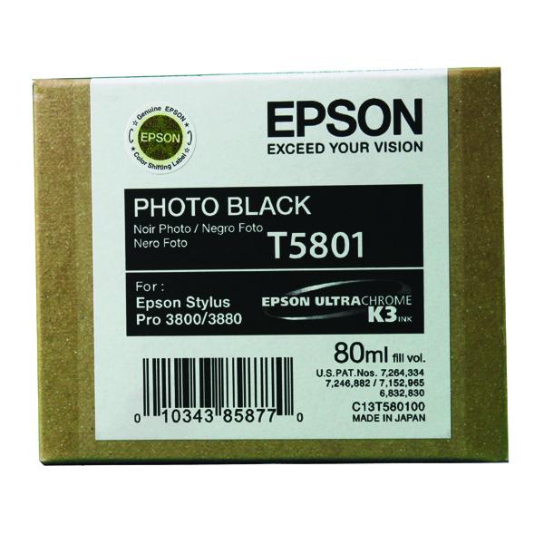 Epson T5801 Photo Black Inkjet Cartridge C13T580100 / T5801