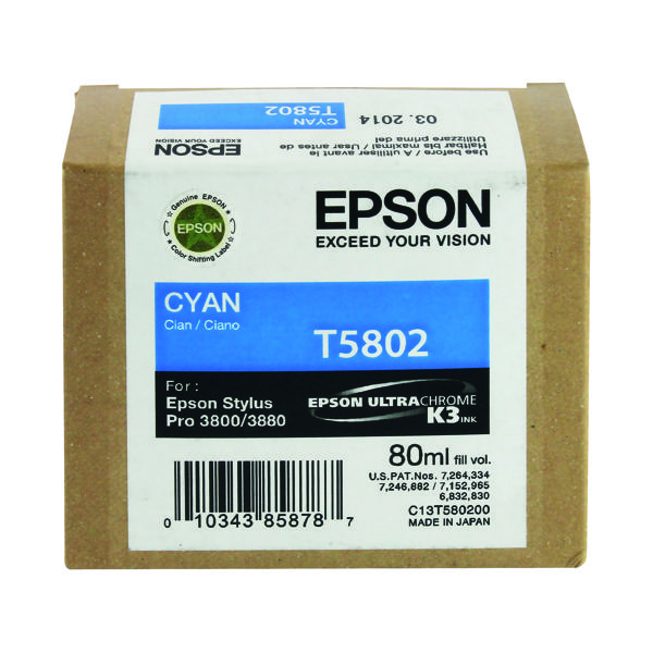 Epson T5802 Cyan Inkjet Cartridge C13T580200 / T5802 135 Sheets