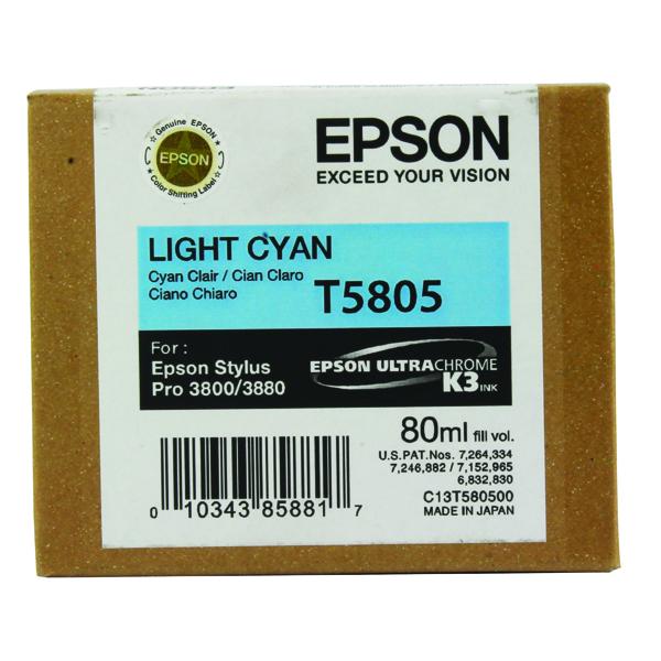 Epson T5805 Light Cyan Inkjet Cartridge C13T580500 / T5805