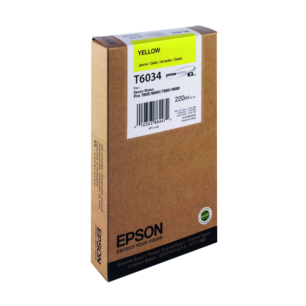 Epson T6034 High Yield Yellow Inkjet Cartridge C13T603400 / T6034