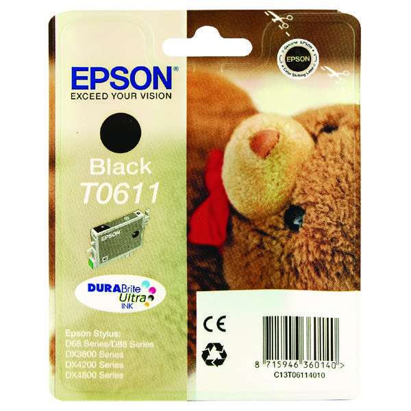 Epson T0611 Black Inkjet Cartridge C13T06114010 / T0611