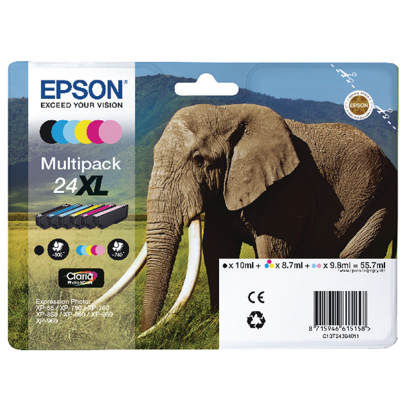 Epson 24XL 6-Colour Inkjet Cartridge High Yield Multipack (Pack of 6) C13T24384011