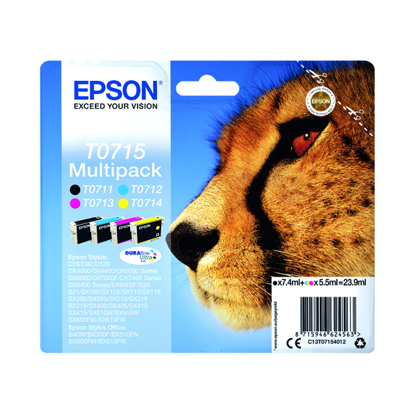 Epson T0715 Black Cyan Magenta Yellow Inkjet Cartridge Value (Pack of 4) C13T07154012