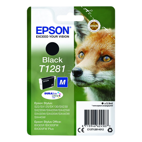 Epson T1281 Black Inkjet Cartridge C13T12814012