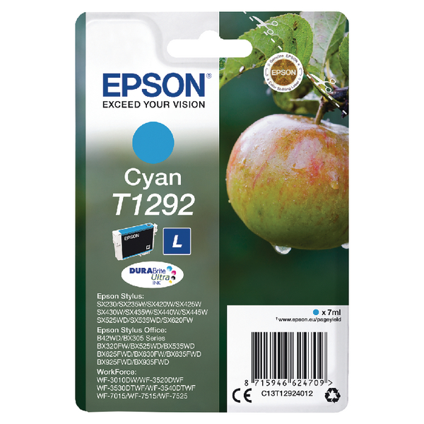 Epson T1292 Cyan Inkjet Cartridge C13T12924012