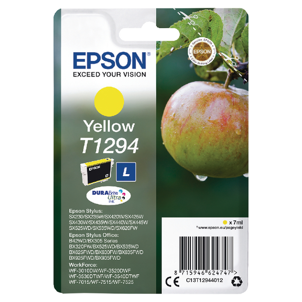 Epson T1294 Yellow Inkjet Cartridge (Capacity: 330 pages) C13T12944012