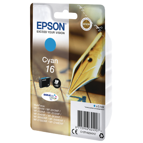 Epson 16 Cyan Inkjet Cartridge C13T16224012