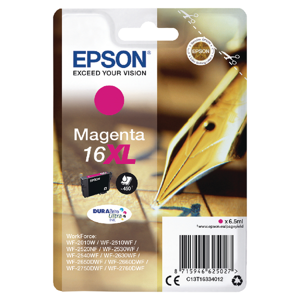 Epson 16XL Magenta Inkjet Cartridge (Capacity 450 pages) C13T16334012