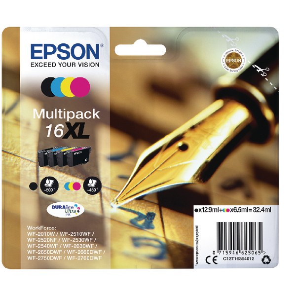 Epson 16XL Black/Cyan/Magenta/Yellow Ink Cartridges (Pack of 4) C13T16364012