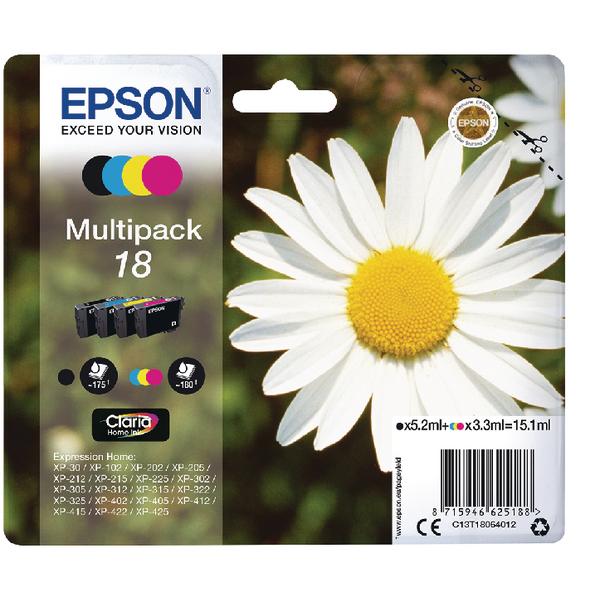 Epson 18 Black/Cyan/Magenta/Yellow Ink Cartridge (Pack of 4) C13T18064012
