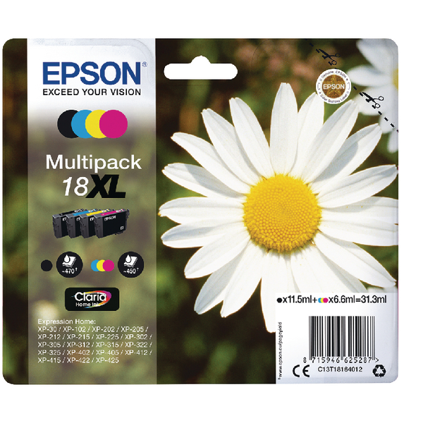 Epson 18XL Black/Cyan/Magenta/Yellow Ink Value (Pack of 4) C13T18164012