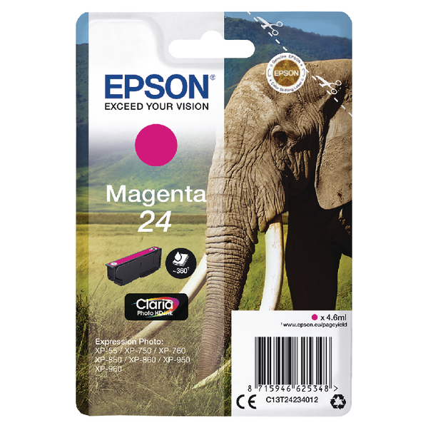 Epson 24 Magenta Inkjet Cartridge C13T24234012