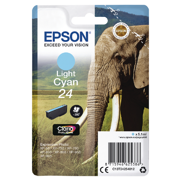 Epson 24 Light Cyan Inkjet Cartridge (360 page capacity) C13T24254012