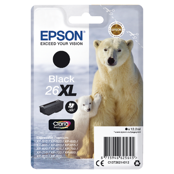 Epson 26XL Black Inkjet Cartridge C13T26214012