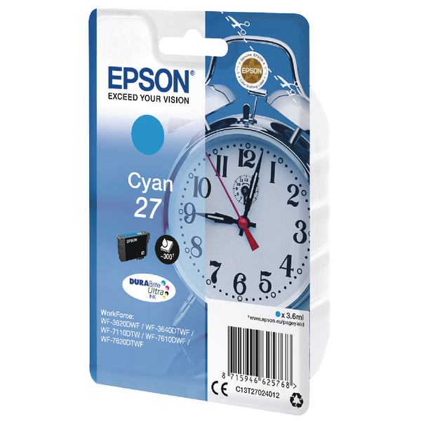 Epson 27 Cyan Inkjet Cartridge C13T27024012