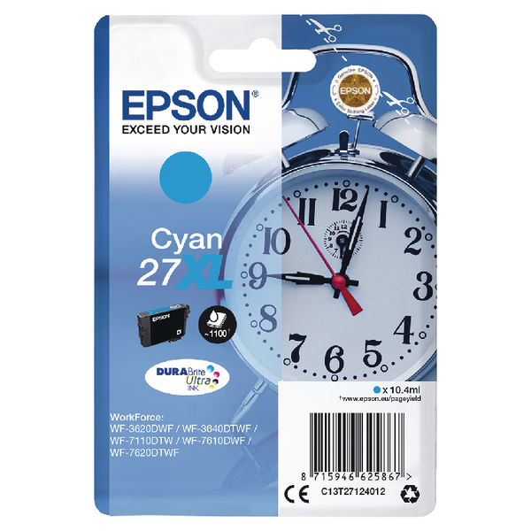 Epson 27XL Cyan Inkjet Cartridge C13T27124012