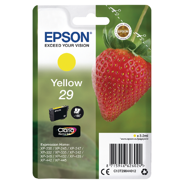 Epson 29 Yellow Inkjet Cartridge C13T29844012