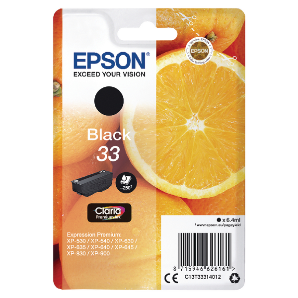 Epson 33 Black Inkjet Cartridge C13T33314012