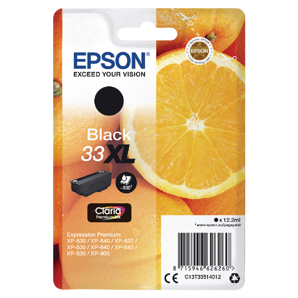Epson 33XL Black Inkjet Cartridge C13T33514012