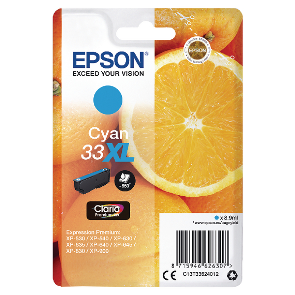Epson 33XL Cyan Inkjet Cartridge C13T33624012