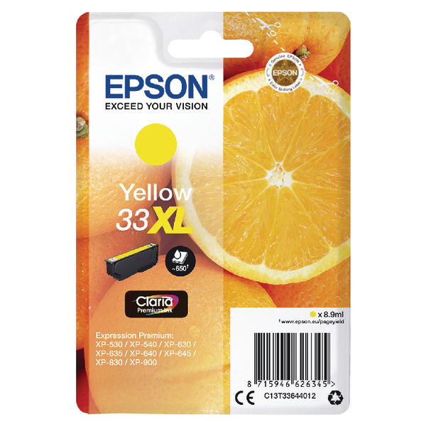 Epson 33XL Yellow Inkjet Cartridge C13T33644012