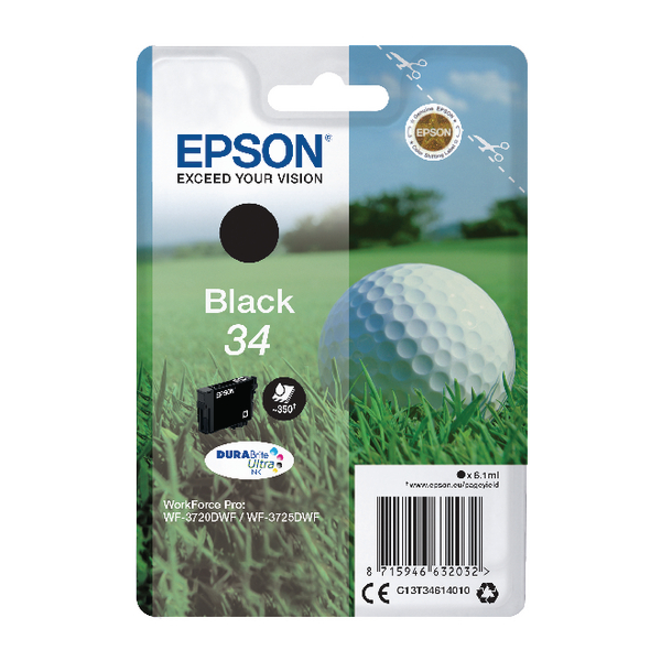 Epson Singlepack Black 34 DURABrite Ultra Ink C13T34614010