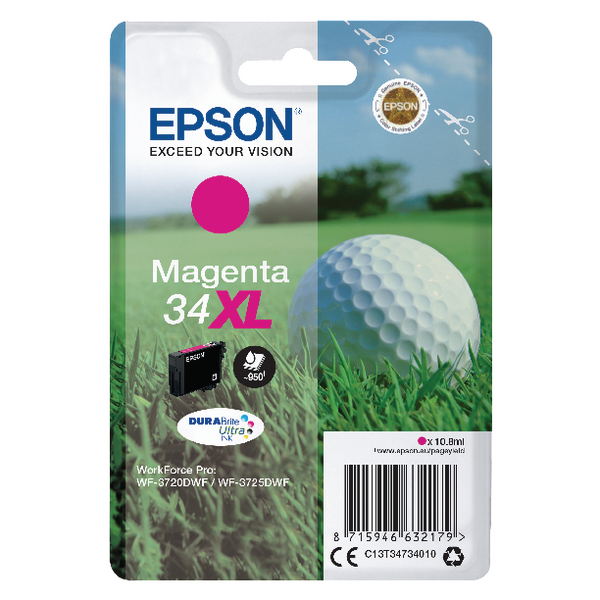 Epson Singlepack Magenta 34XL DURABrite Ultra Ink C13T34734010