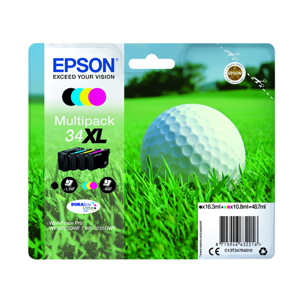 Epson Singlepack 4 Colour 34XL DURABrite Ultra Ink C13T34764010