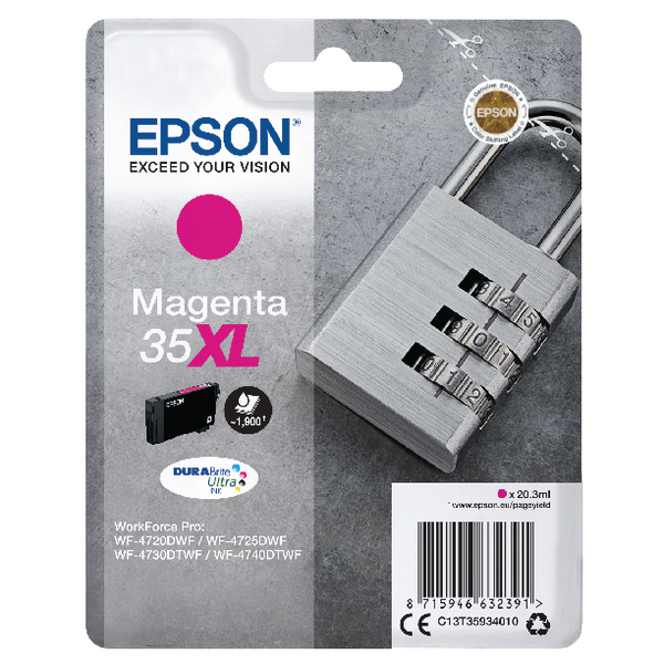 Epson Singlepack Magenta 35XL DURABrite Ultra Ink C13T35934010