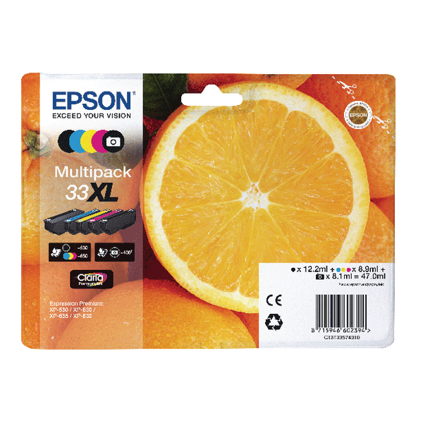 Epson Multipack 33XL Non-Tagged Ink Cartridges CMYKPhK (Pack of 5) C13T33574011