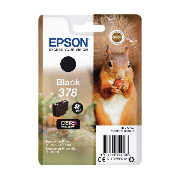 Epson 378 Photo HD Inkjet Cartridge (Capacity: 240 pages) C13T37814010
