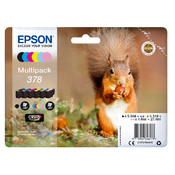 Epson 378 Photo HD Inkjet Cartridge (Pack of 6) C13T37884010