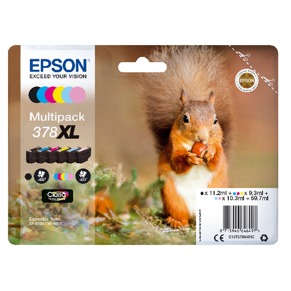 Epson 378XL Photo HD Inkjet Cartridge (Pack of 6) C13T37984010