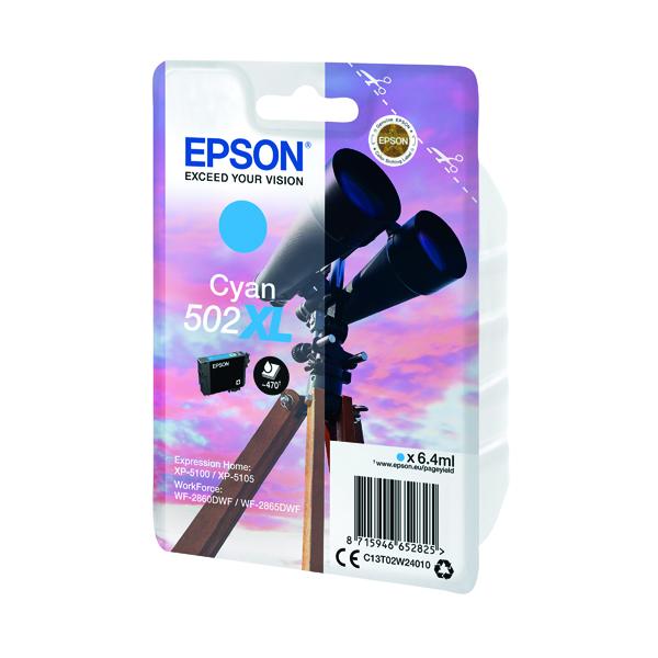 Epson Singlepack 502XL Ink Cyan C13T02W24010